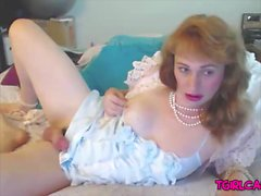 Mature redhead Sissy jerks big dick webcam