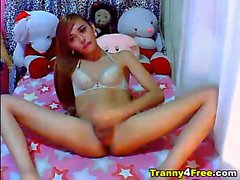 Cute Asian tranny strips and then showed her huge and hard