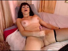 Cute busty tranny masturbates to orgasm