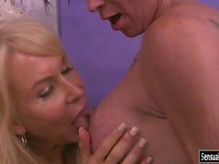 Busty TS fucked big rack blonde mature woman on the bed