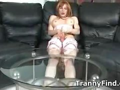Solo tranny in lingerei cock stroking