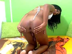 Exotic Tgirl Donut in solo masturbation