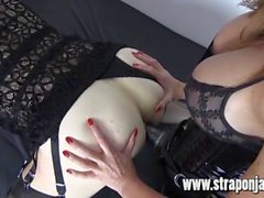 Sexy dom Strapon Jane fucks tranny sluts tight ass and makes her cum