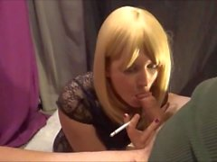 Tgirl Smoker Gives Her Step Daddy A Blowjob