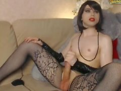 Beautiful Russian CD masturbating in stockings