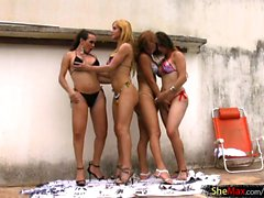 Shemale girlfriends are pounding tight ass holes in foursome