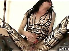 Pantyhose shemale Penny Tyler gets fucked in the ass so deep