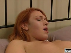Kinky redhead tranny Aspen Brooks asshole slammed in bed