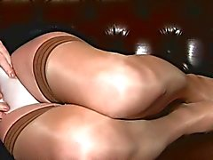 Crossdresser Carresa Cums in Black and Tan