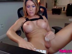 Big tits Tgirl jerking dick with toy Online