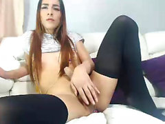 Amateur tranny in stockings solo