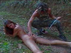 Hot army man likes to fuck trannies in the forest