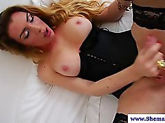 Shemale amateur in lingerie masturbating in hot high def
