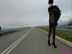 Outdoor crossdresser on public streetlingerie & a mp heels
