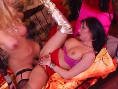 blonde tranny fucks a brunette girl