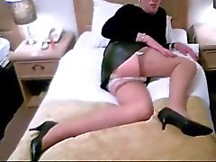 Mature crossdresser secretary performs for admirer