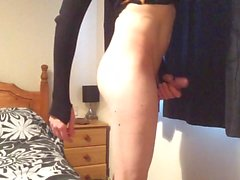 Long legs skinny tranny stripping