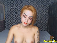 perky tits shemale plays her hard dick