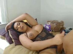 Thick black tgirl cums