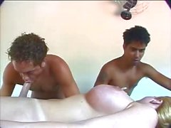 Super titty tranny fucks a dude at threesome