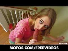 Doe eyed blonde amateur gives an amazing POV blowjob