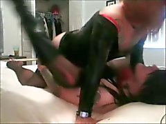 Amateur crossdressers have a fun in bed