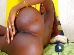 Black colombian shemale shows her big booty and huge cock