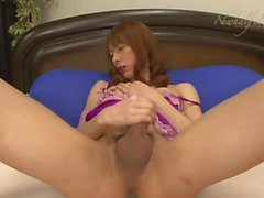 Skinny red head asian shows cute jerking & cums