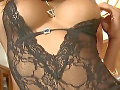 Chocolateskin lingerie tgirl strips and jerks