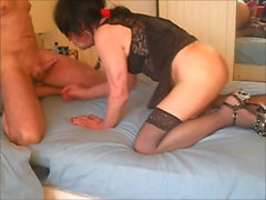 LaraTranny getting fucked and swallows cum