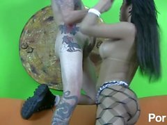 Latin Tgirl in fishnets fucked by tattooed hunk