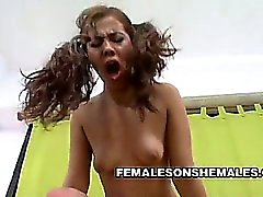 Sexy blonde shemale Kate Augustina enjoys the touch of a