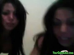 Two Tranny babes play together on webcam