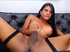 Gorgeous Latina Shemale Tasting her Own Sperm