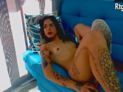 tattooed latina trans babe stroking her cock on cam