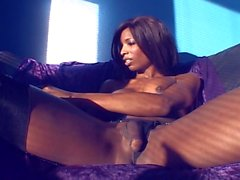 Sexy ebony shemale natassia plays with her cock