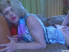 Blond crossdresser gets cum on her butt