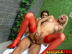 Hot shemale Shakira Maya in red lingeries gets fucked hard