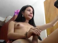 Slim Tgirl with small boobs webcam show