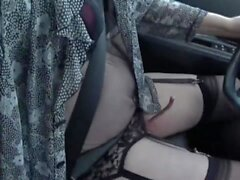 crossdresser sissy drive in the city in garter belt and