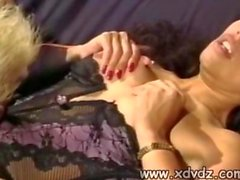 Brunette Sucks Blonde Girls Nipples Before Moving Her Attention To Dick Between Her Legs
