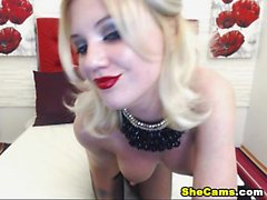 Cute Blonde teen shemale teasing her viewers before she