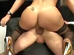 Busty blonde TS fucks a guy