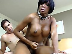 Black bareback tgirl takes cum in mouth