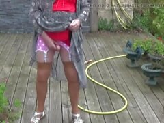 transgender travesti lingerie sounding dildo outdoor 91