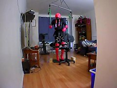sissy's self bondage suspension