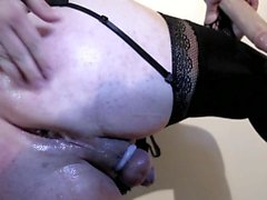 Lola french crossdresser, big dildos and huge cum