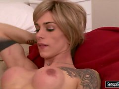 Tight busty tranny Nina Lawless anal rammed on the bed