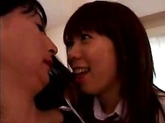 Cute Asian teen joins a sexy shemale and a horny guy for a