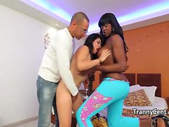 Teen fucked by tranny and dude